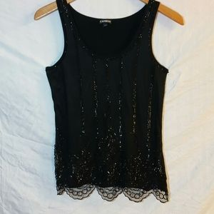 Sz S used express sequins black tank